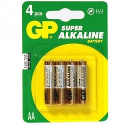 4 Batteries LR6 Alkaline AA - GP