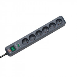 POWER STRIP, 6 OUTLETS WITH SURGE PROTECTION 13.500 A 1.4 M BRENNENSTHUL