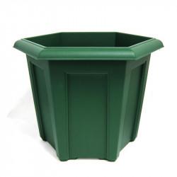 Pot plastique hexagonal vert - 40 x 40 cm