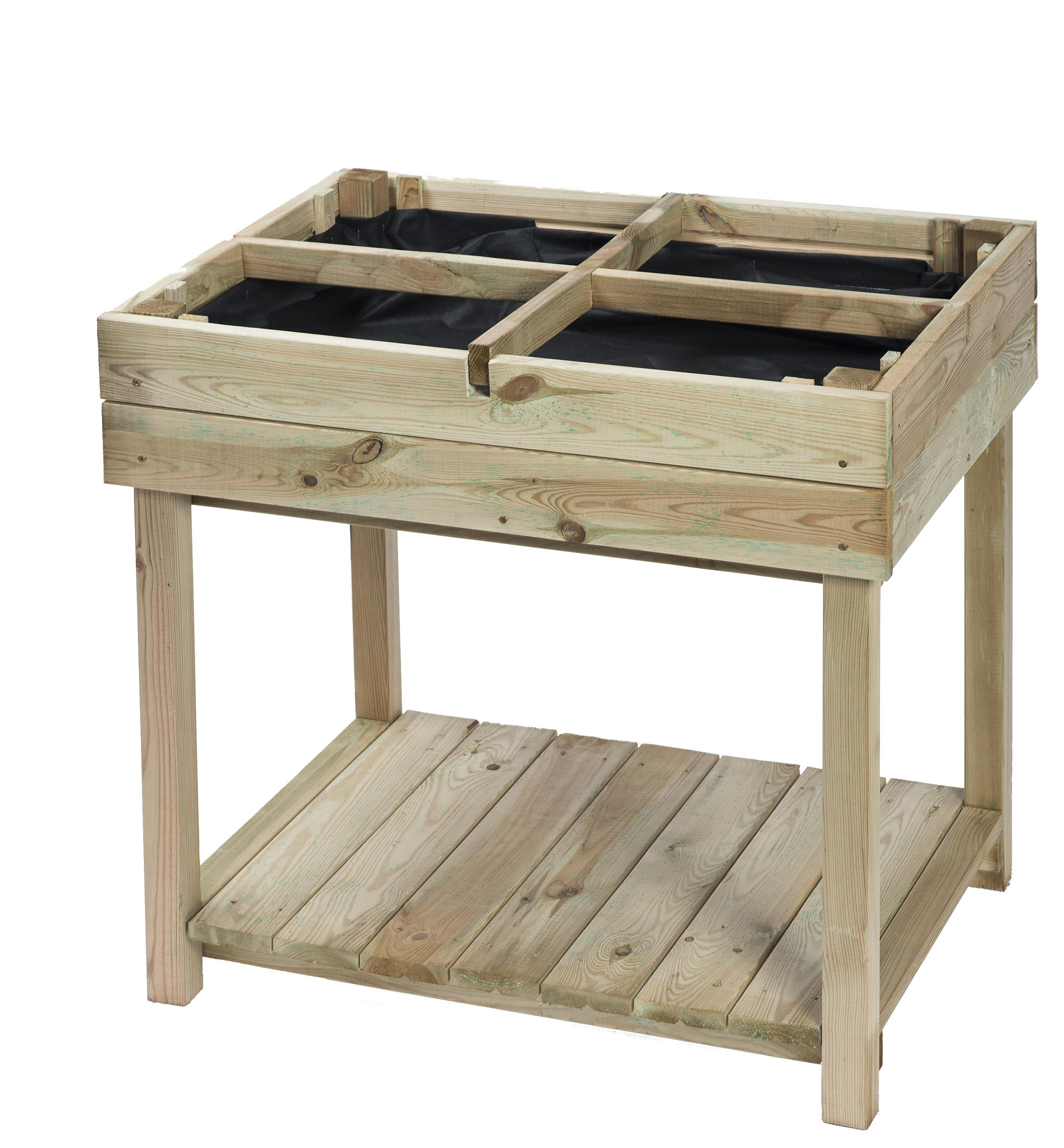 WOODEN GARDEN TABLE SQUARE 4 COMPARTMENTS H80X80X60CM