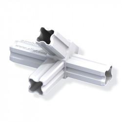 Jonction connecteur 45° pour tube PVC/alu - blanc 4 branches 23.5mm carrées
