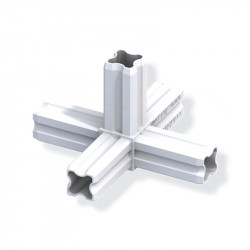 Etoile connecteur 90° pour tube PVC/alu - blanc 5 branches 23.5mm carrées