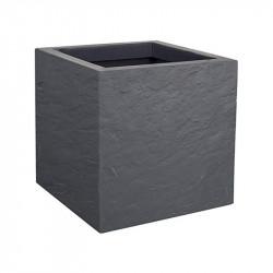 Pot carré Volcania Up - 29.5x29.5x29.5cm 21L gris galet - EDA Plastique