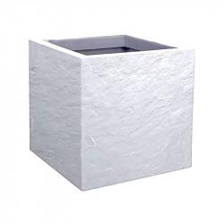 Pot carré Volcania Up - 29.5x29.5x29.5cm 21L blanc cérusé - EDA Plastique