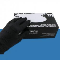 Gants nitrile noirs non poudrés - Boîte de 100 large