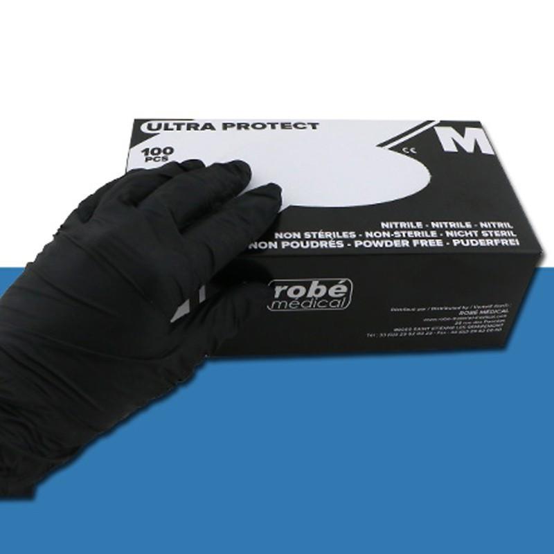 Powder-free black nitrile gloves - Box of 100 small