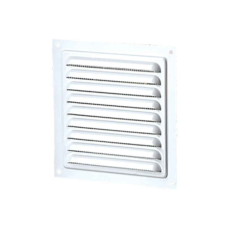 SQUARE VENTILATION 200MM WHITE STEEL + INSECT SCREEN