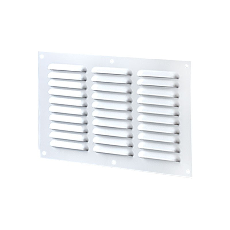 VENTILATION RECT 3 ROWS 300X100MM WHITE ALUMINIUM + INSECT SCREEN
