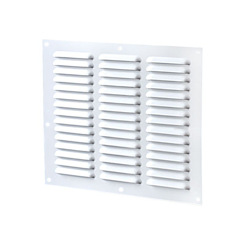 VENTILATION RECT 3 ROWS 300X250MM WHITE ALUMINIUM + INSECT SCREEN