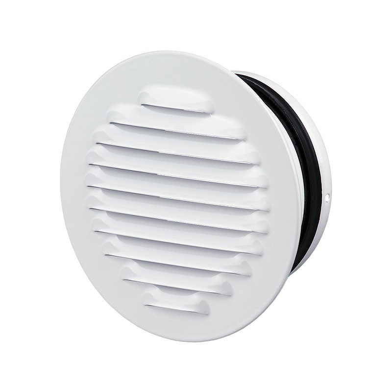 ROUND GRILL FLANGE 100MM WITH WHITE STEEL PANEL + ECRAn