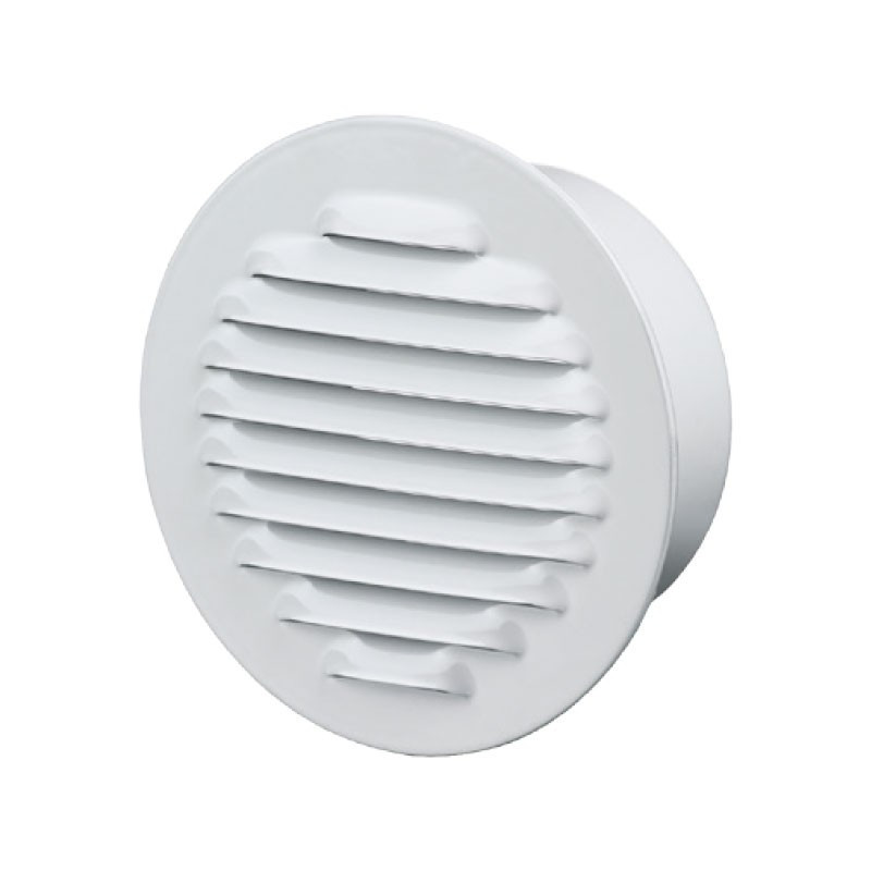 ROUND GRILLE FLANGE 100MM WHITE POLISHED ALUMINIUM + INSECT SCREEN