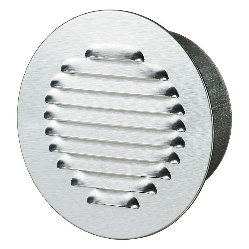 ROUND GRILL FLANGE 160MM ALU POLISHED WHITE + INSECT SCREEN