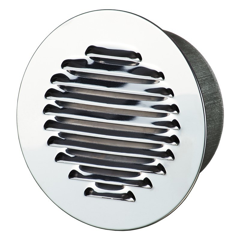 ROUND GRILL FLANGE 200MM WHITE POLISHED ALUMINIUM + INSECT SCREEN