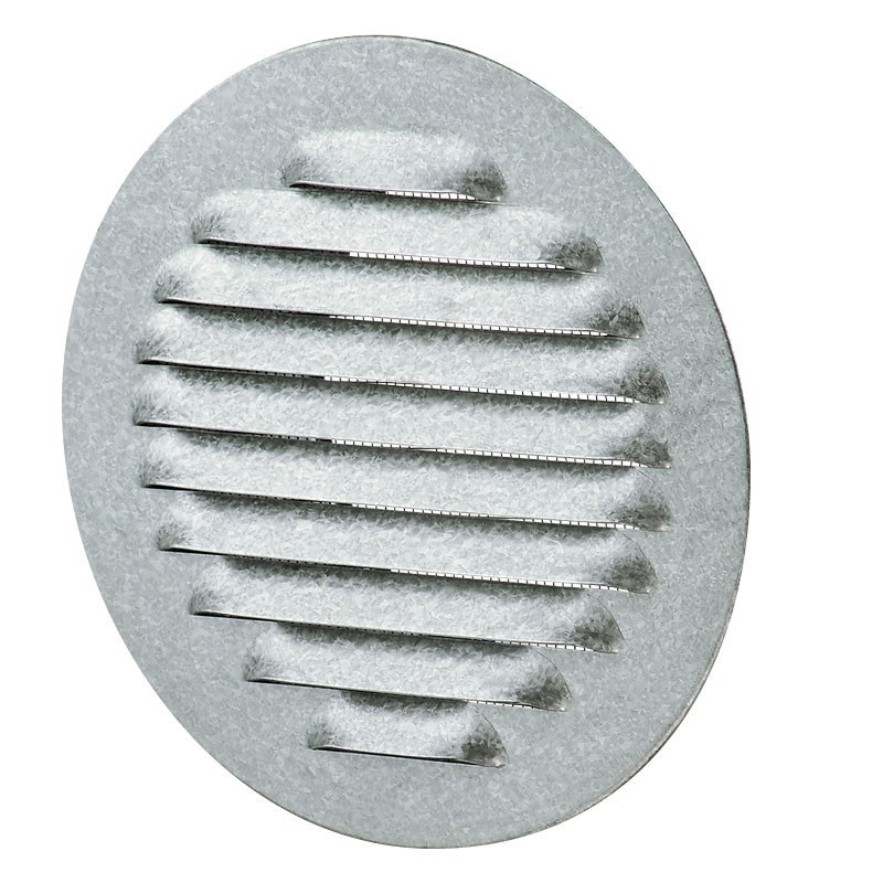 ROUND SCREW-ON GRILL ALU POLISHED WHITE D142MM. L114MM + SCREEN