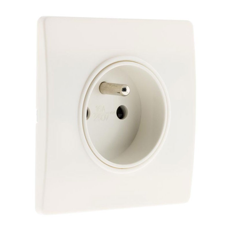 Wall socket 16A 2-pole + earth + claws white Diwone