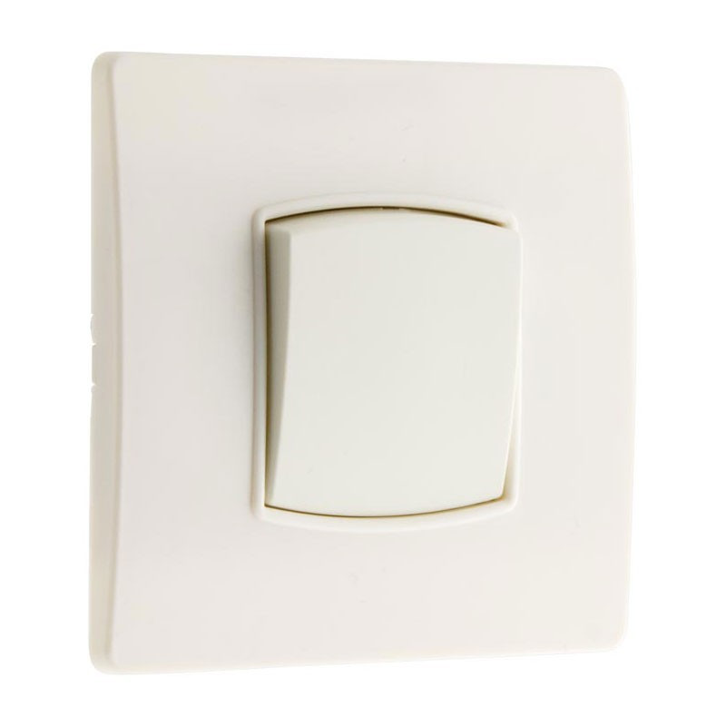 Wall-mounted push button switch 10A Diwone white + claws