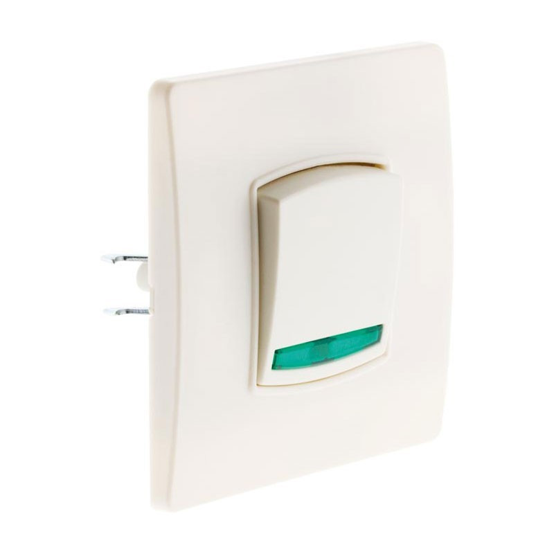 Push-button switch with indicator light Diwone white + claws