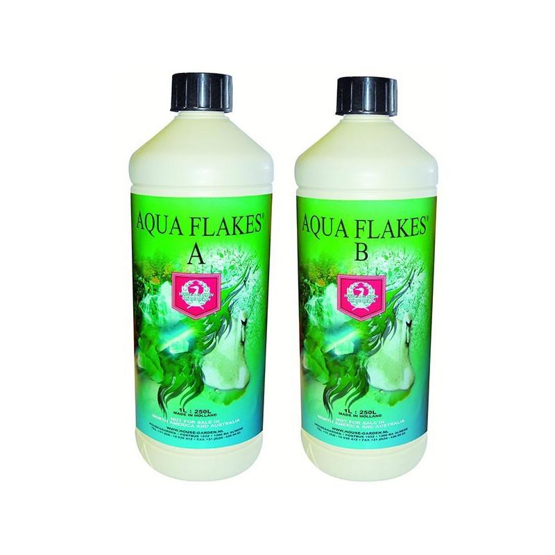 H&G Aqua Flakes A+B 1L, engrais hydroponique croissance et floraison