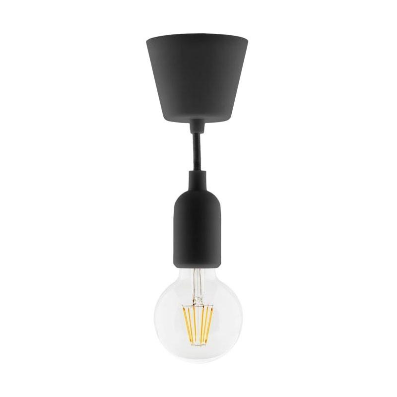 Lighting kit suspension set black + globe 6w led filament