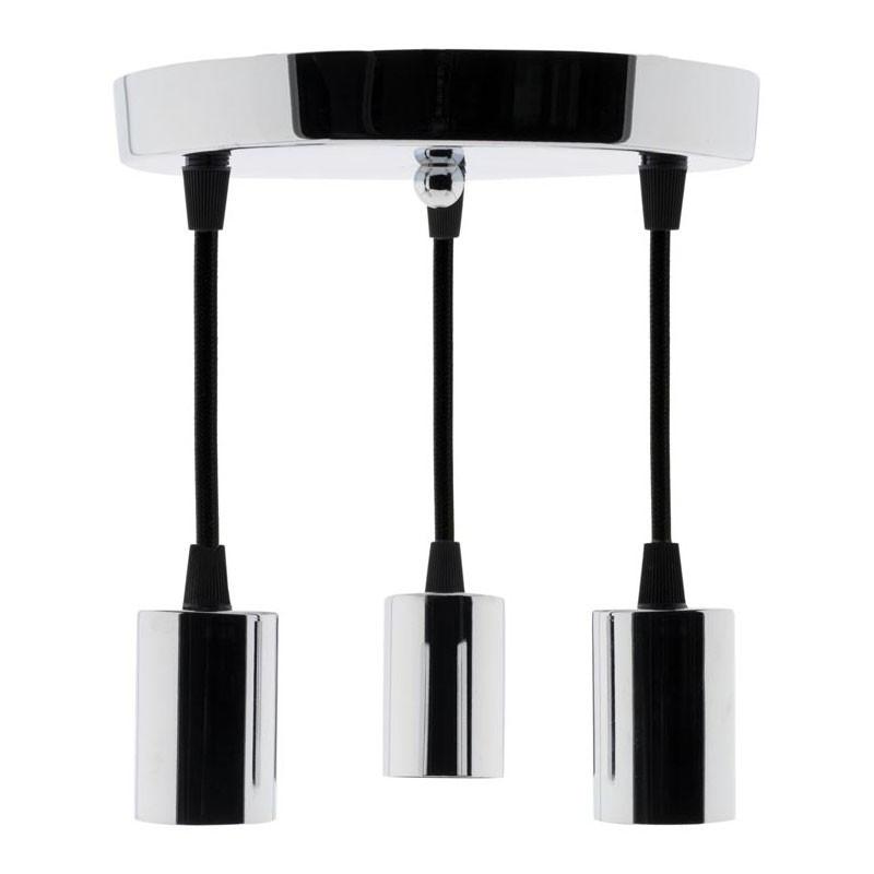 Decorative light E27 Metal Chrome Elexity 3-hanger kit