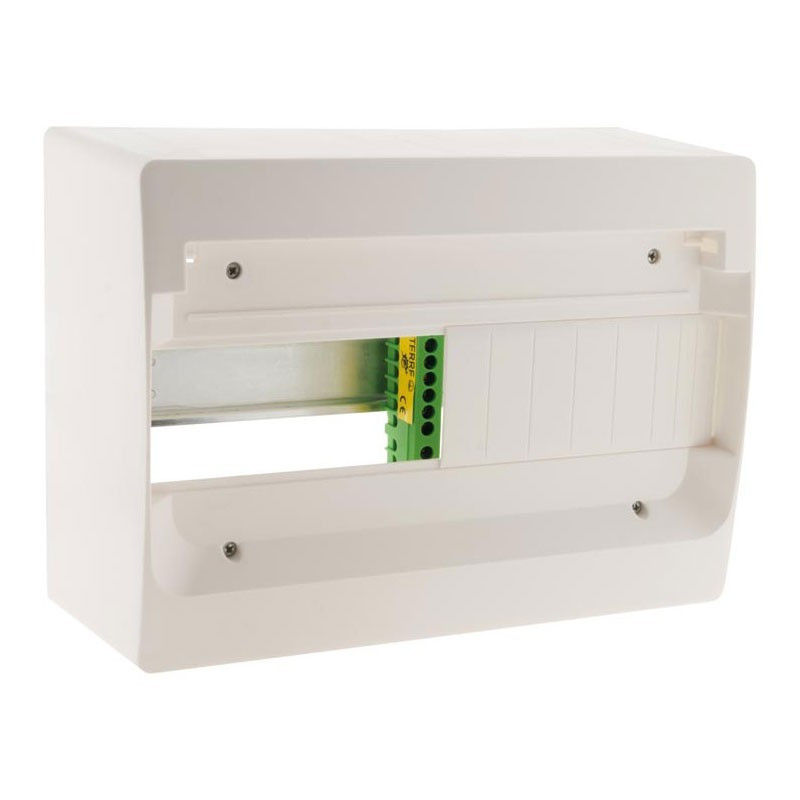 13-module switchbox white metal rail without door