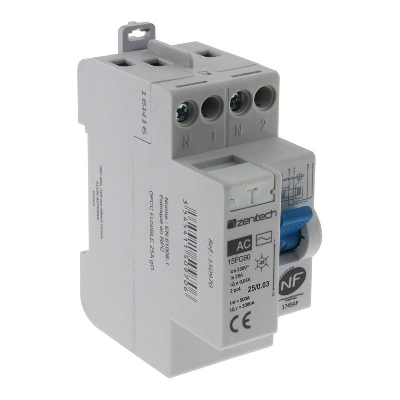 Differential switch 25/2-30mA AC type Zenitech