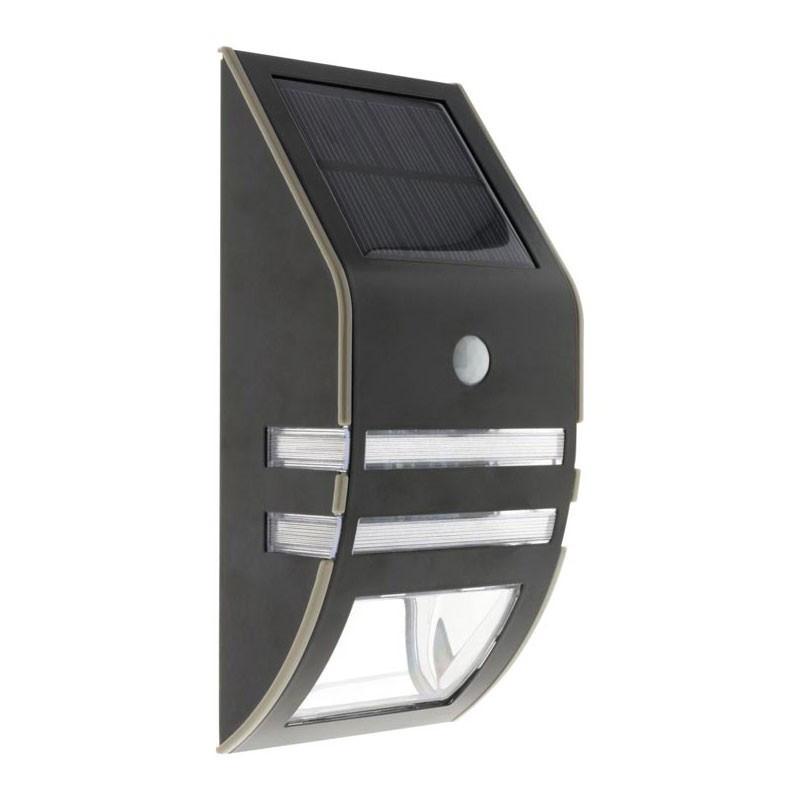 Solar wall light led motion detector black 50 lumens Elexity