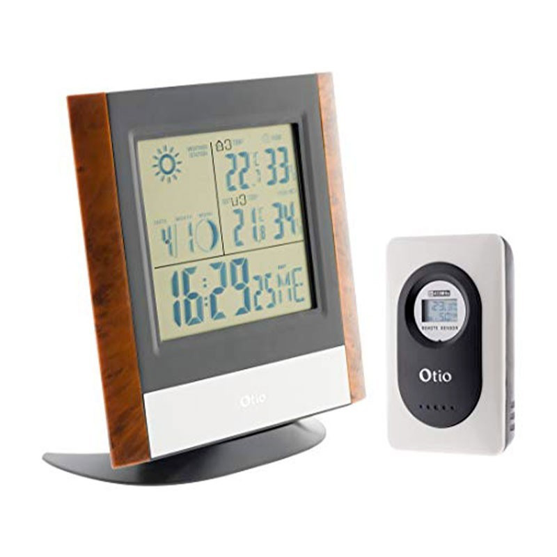 Weather station with wireless outdoor sensor OTIO - Wood finish