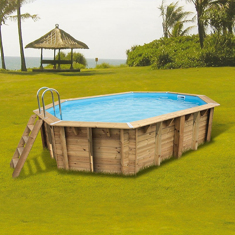 Octagonal swimming pool Sunwater 300x490cm - blue liner - Ubbink (delivery: 15 days)