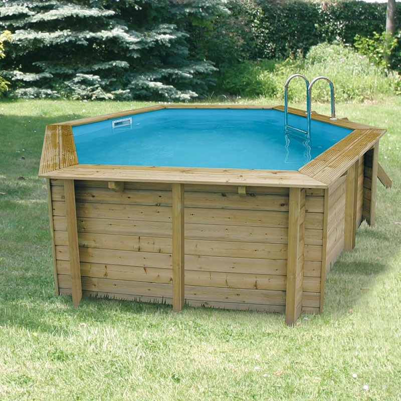 Octagonal swimming pool Azura 410cm with cover - blue liner - Ubbink (delivery: 15 days)