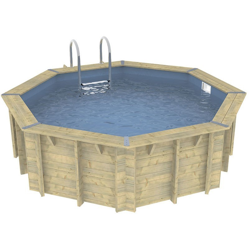 Octagonal swimming pool Océa ø430cm - blue liner - Ubbink (delivery: 15 days)