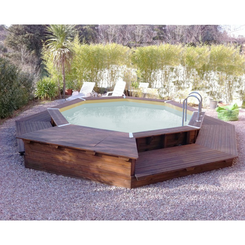 Octagonal swimming pool Océa ø430cm - beige liner - Ubbink (delivery: 15 days)
