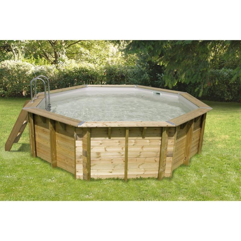Octagonal swimming pool Océa ø430cm - grey liner - Ubbink (delivery: 15 days)
