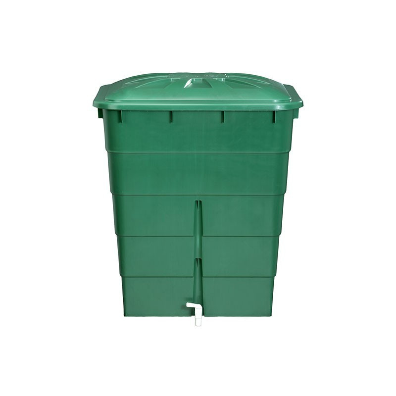Rectangular tank 300L green with lid and tap - Garantia