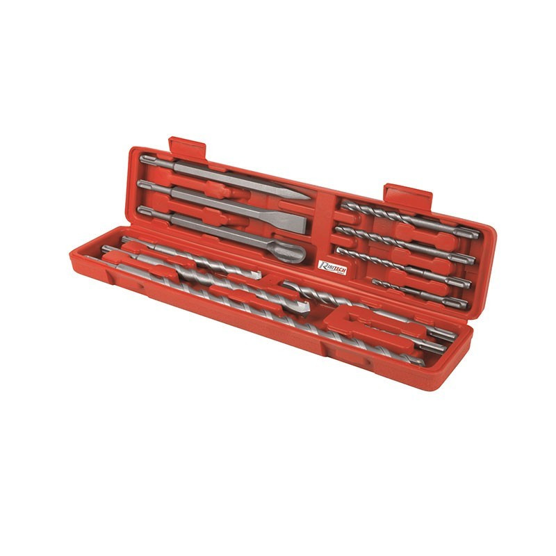 Case of 12 chisels, pointers, SDS drills - Ribitech