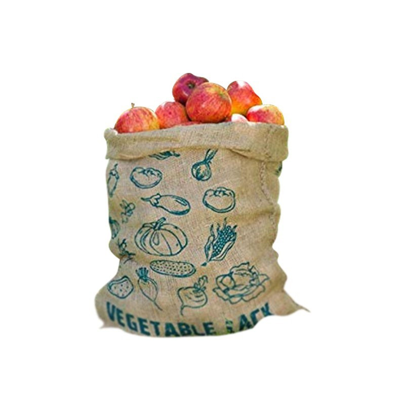 Printed jute canvas bag for fruit and vegetable storage 68.5X49.5cm - Nature