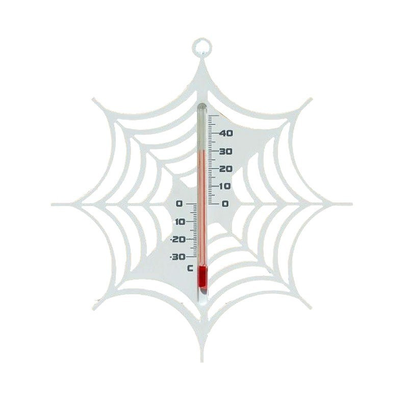 Outdoor wall thermometer in plastic - Spider's web - White - H 15 X 14 X 0.3 cm - Nature