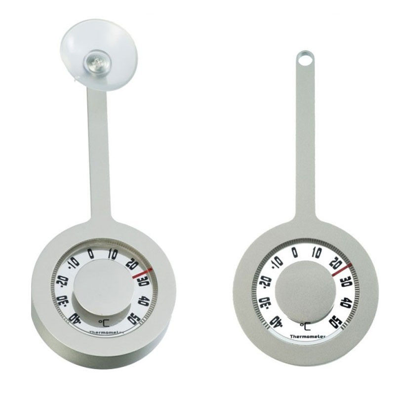 Aluminum outdoor thermometer - Lolly suction cup - H 16.2 X 7.2 diameter - Nature