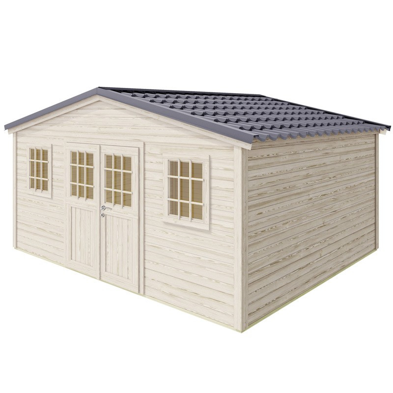 SHELTY PLUS premium garden shed - 18 m² - 448 x 395 cm - Madeira