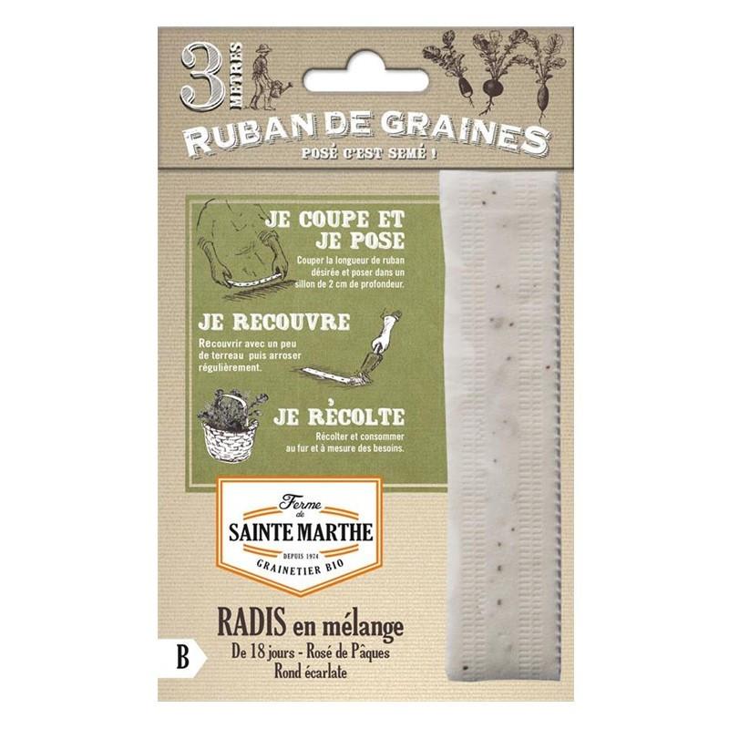 <x>La ferme Sainte Marthe</x> - Ribbon of 150 seeds Mixed Radish