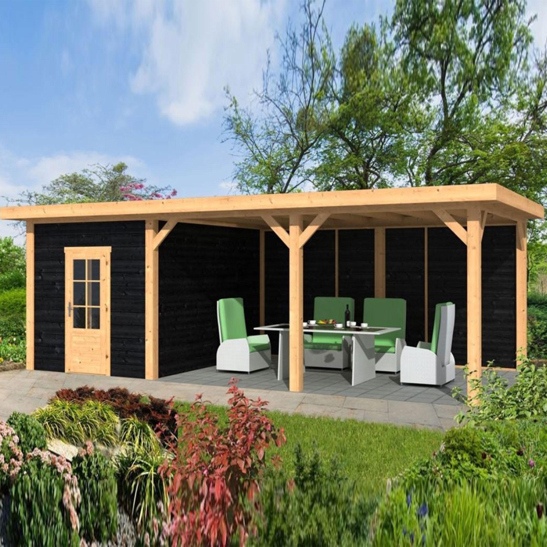 Garden shed Twello larch- Douglas fir siding - Black - Tuindeco