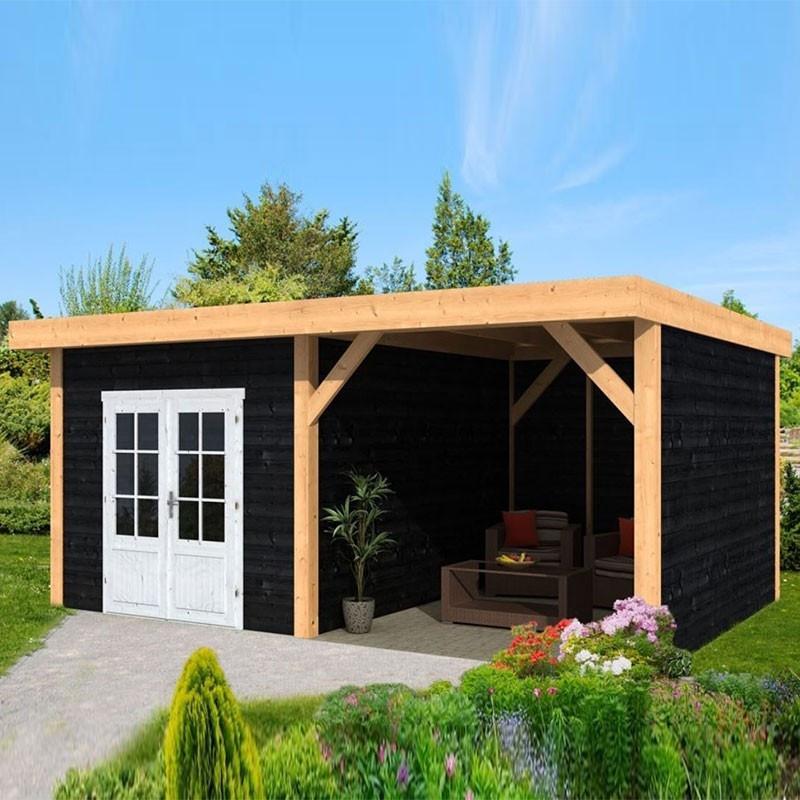 Garden shed Raalte larch- Douglas fir siding - Black - Tuindeco