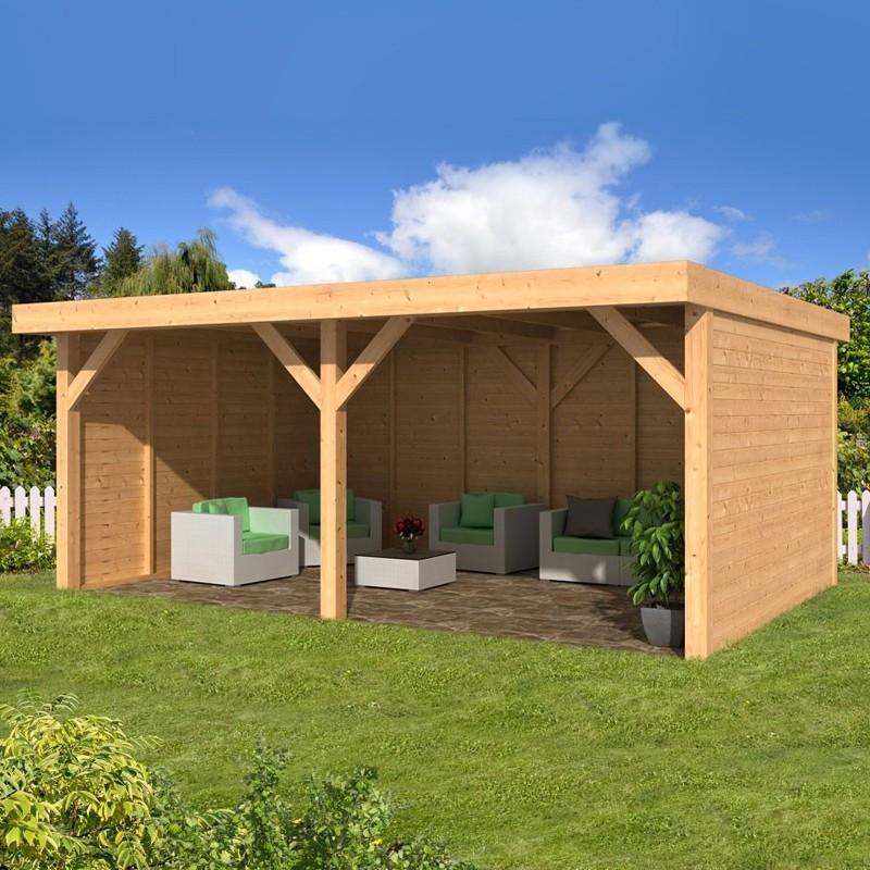Pine garden shed - Maaseik - Wood colour siding - Tuindeco