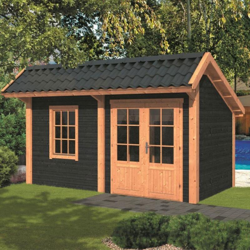 Modular garden building Bergen L type 4 - Black - Tuindeco