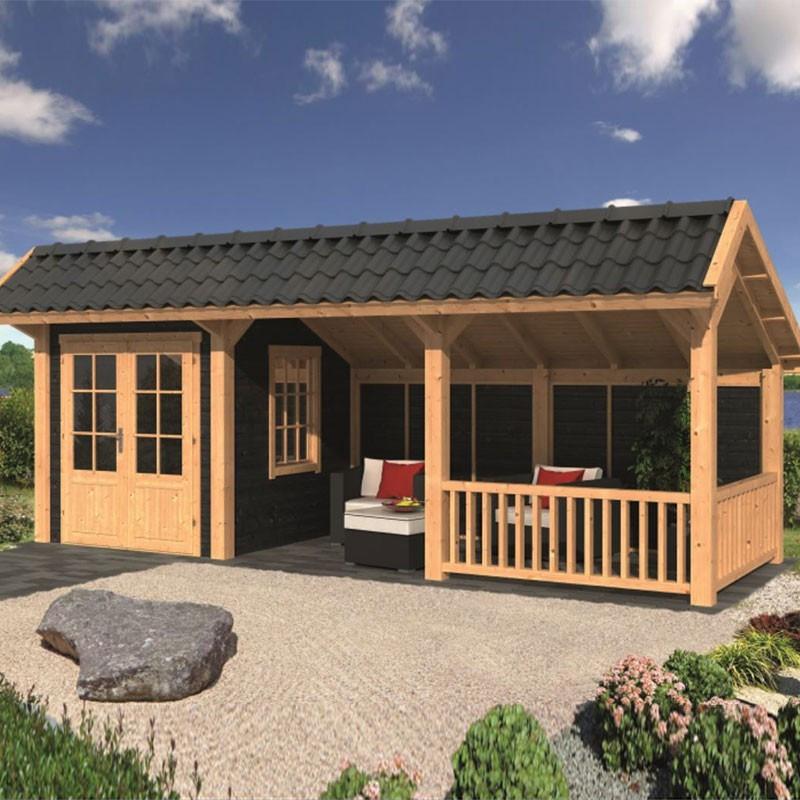 Modular garden building Bergen L type 8 - Black - Tuindeco
