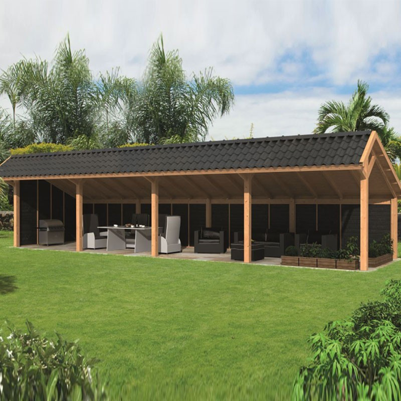 Modular garden building Bergen L type 10 - Black - Tuindeco