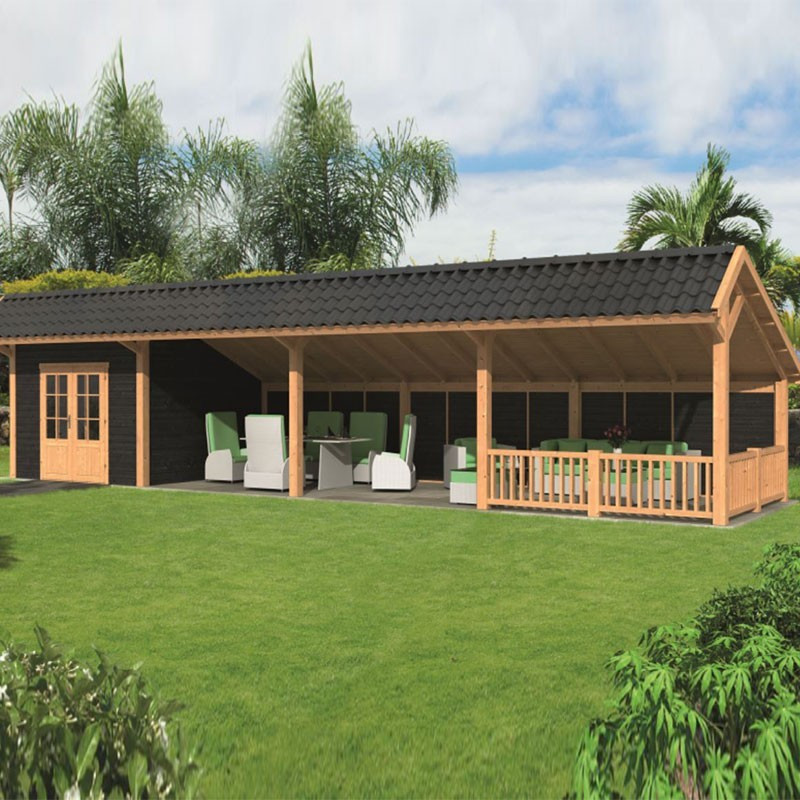 Modular garden building Bergen L type 11 - Black - Tuindeco