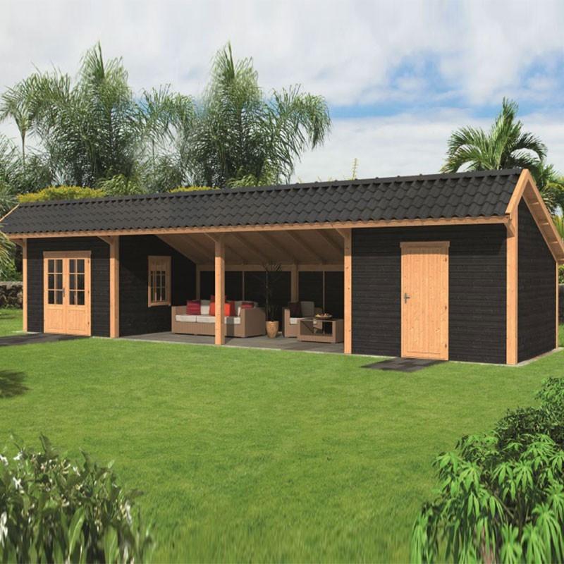 Modular garden building Bergen L type 12 - Black - Tuindeco