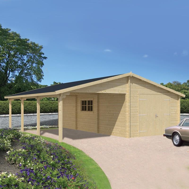 Wooden garage - 830 x 765 cm - Berggren - Tuindeco