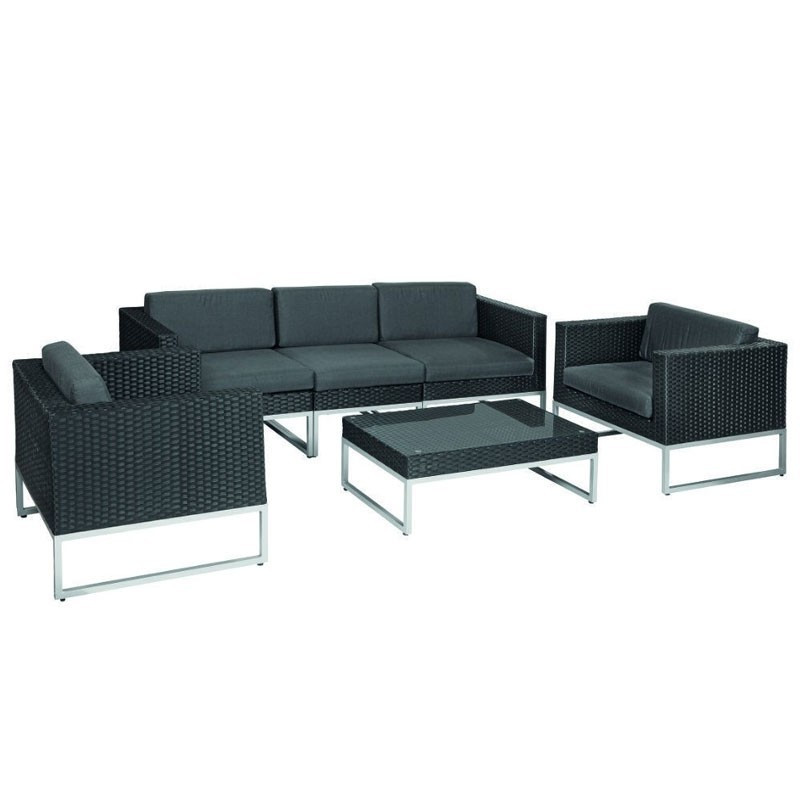 Richmond Lounge Set Wicker Braided Black Wicker - Tuindeco